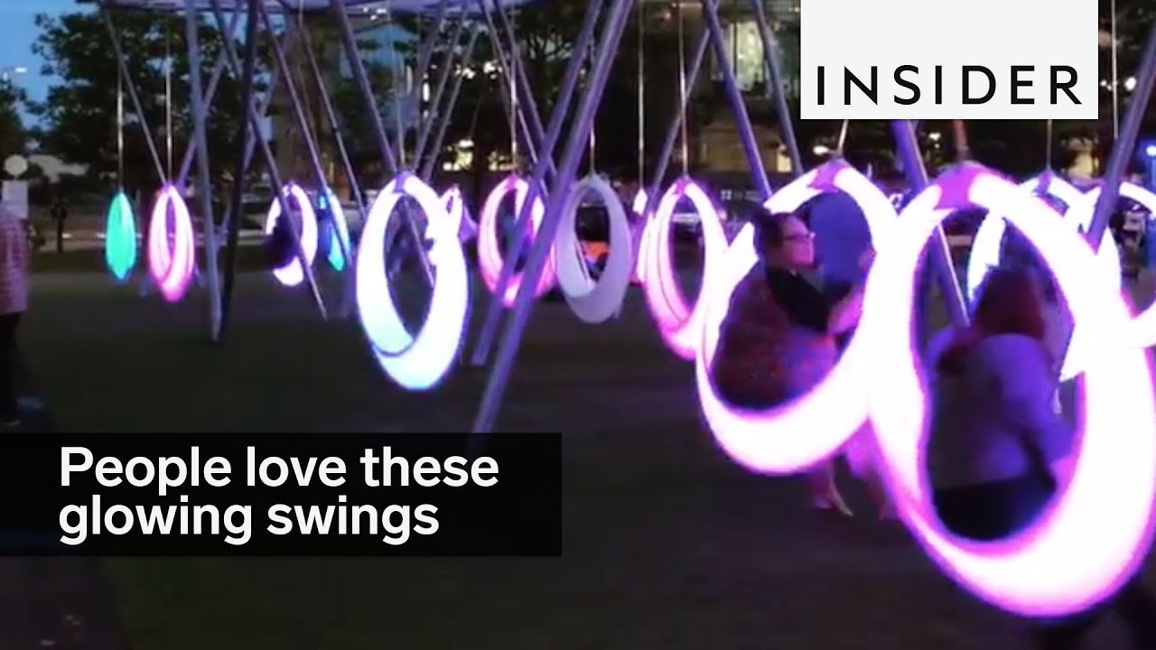 People Are Obsessed With These Glowing Swings In Boston
