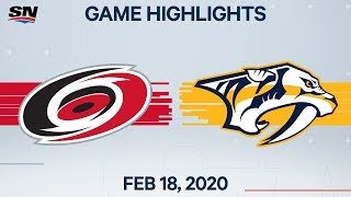 NHL Highlights | Hurricanes vs Predators - Feb. 18, 2020