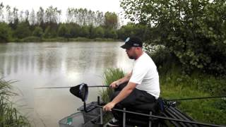 Fishing shallow for carp at Ash Pond, Oaks Lakes