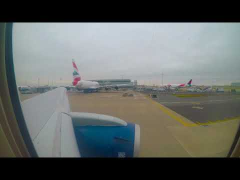 British Airways B767-300 taxiing and taking off in London Heathrow airport
