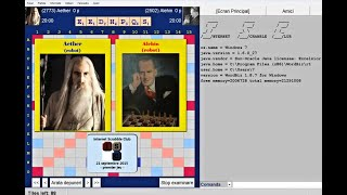 Scrabble - Ordinateur vs ordinateur Aether vs Alehin premier jeu dans Internet Scrabble Club,  ISC