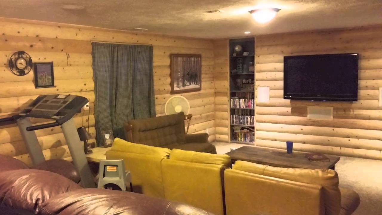 Ken 39 s log siding basement youtube for Log cabin basement ideas