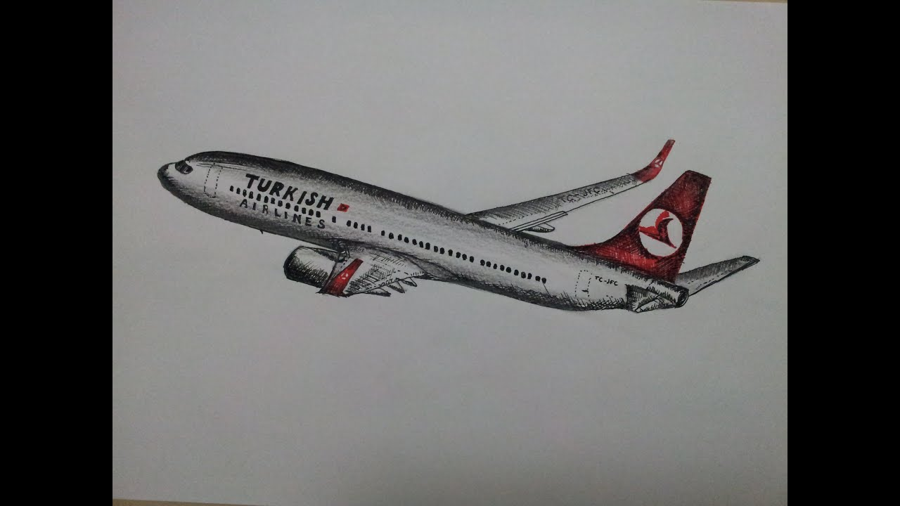 BOEING 737-800 çizimi timelapse/ How to draw an aircraft?