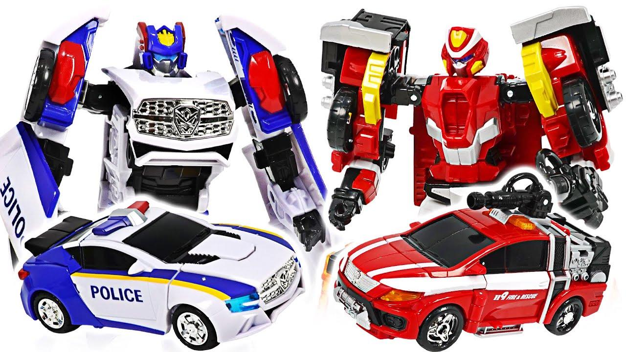 ハローカーボットエースレスキューX、フロンポリスX! パトカーと消防車に変身! | ドゥドゥポップトイ
