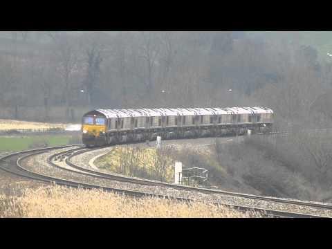 0x12 MEGA CONVOY..10 x class 66 @ Newton st Loe, Bath. 23rd Feb 2013