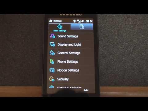Samsung Omnia Pro B7610 Settings
