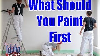 Interior Painting Tips.  What To Paint First When Painting a Room.  DIY walls ceilings or trim?