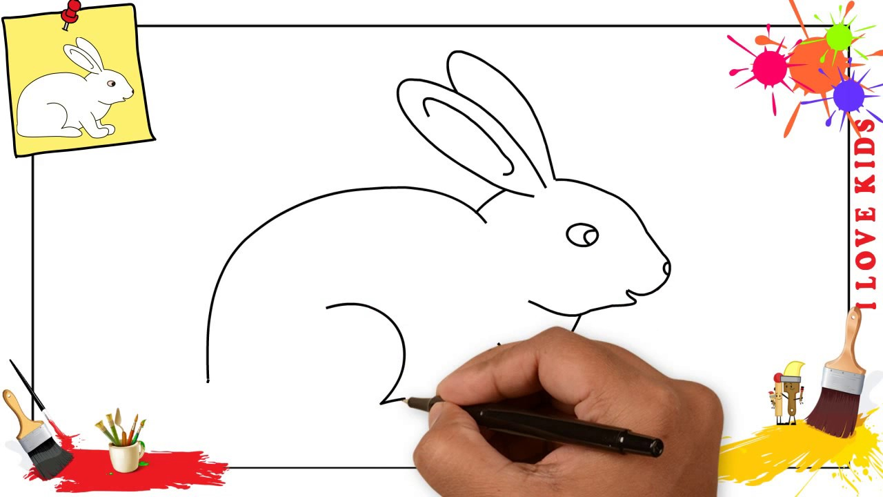 How to draw a rabbit simple easy step by step for kids beginners