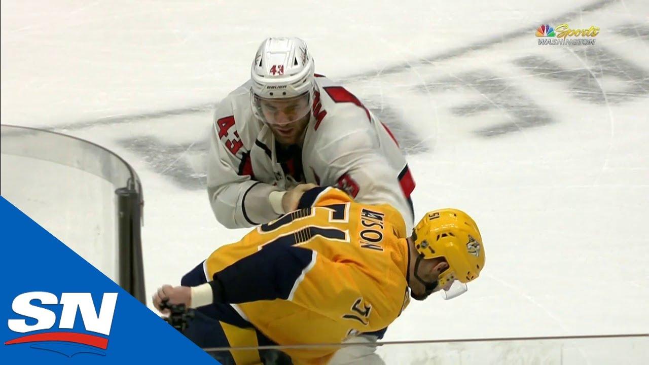 predators-austin-watson-fights-capitals-tom-wilson-after-hit-on-ryan-ellis