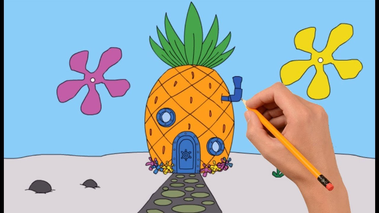How To Draw Spongebob S House Step By Step Easy