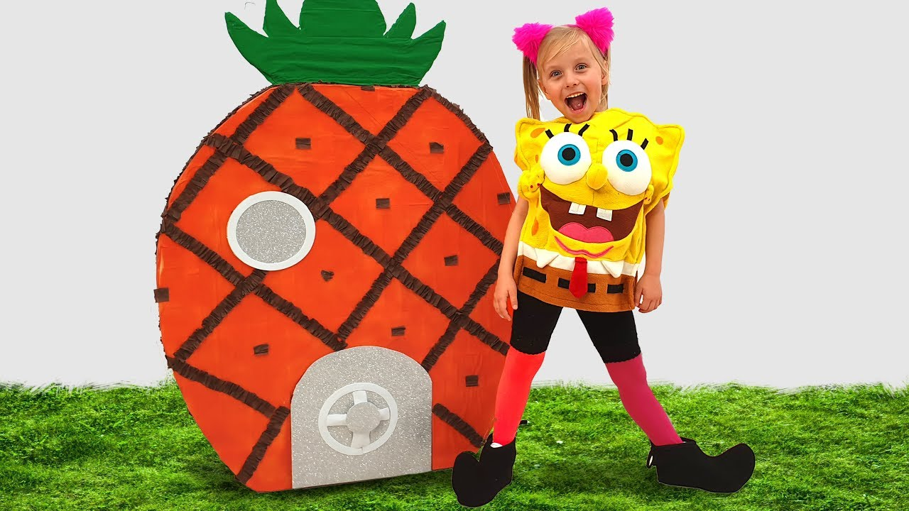 Little girl pretend play Sponge Bob and open Giant Surprise egg