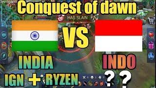 India vs Indonesia (conquest of dawn) -ft ign, ryzen -mobile legends - #devilgaming