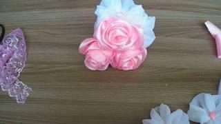 свадебный букет невесты, розы из атласных лент, цветы из вуали