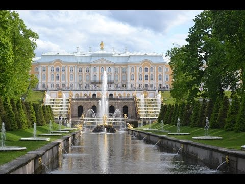 Grand Palace, Lower Garden And Fountain At Peterhof , Saint Petersburg , Russia