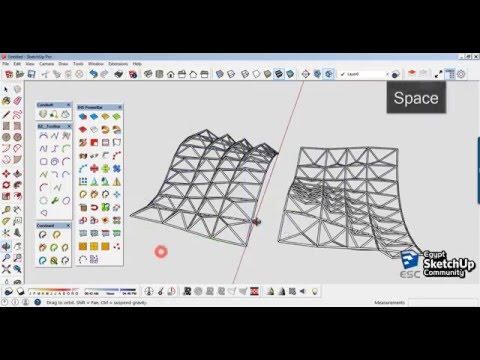 Space Truss Structure Curved Surfaces | SketchUp modeling