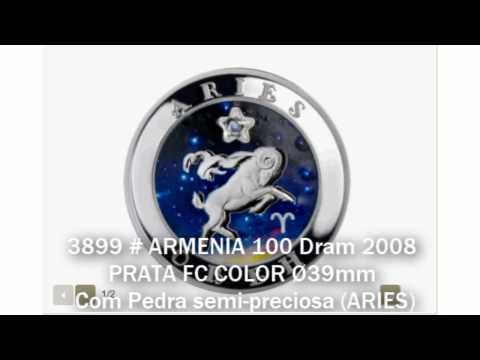 3899 # ARMENIA 100 Dram 2008 PRATA FC COLOR Ø39mm C/ Pedra Semi-preciosa (ARIES)