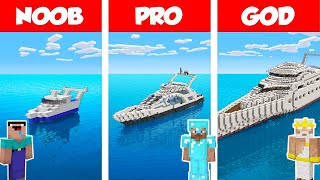Minecraft NOOB vs PRO vs GOD: MODERN YACHT HOUSE 2 - BUILD CHALLENGE in Minecraft / Funny Animation