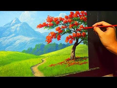 Acrylic Landscape Painting Lesson The Fire Tree By