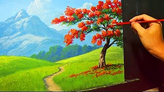 Acrylic Landscape Painting Lesson - The Fire Tree by JMLisondra thumbnail