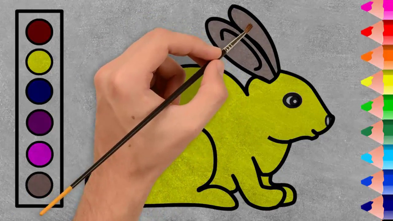 Rabbit Coloring Pages How To Draw And Color A Rabbit Very Easy Step By Step Youtube