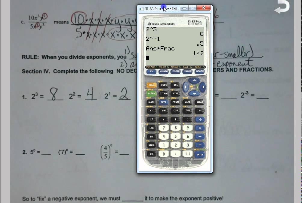 Unit 7 exponent rules worksheet 2 answer key