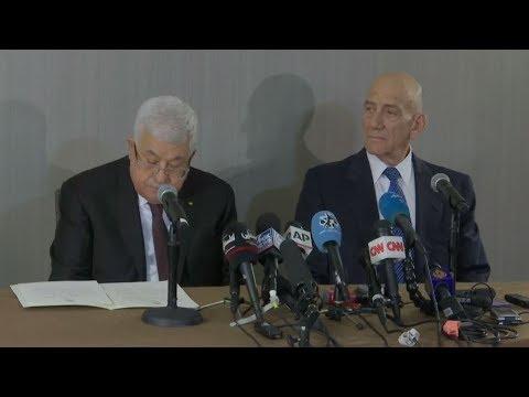 مؤتمر صحفي للرئيس الفلسطيني محمود عباس ورئيس الوزراء الإسرائيلي الأسبق إيهود أولمرت  - 21:59-2020 / 2 / 11