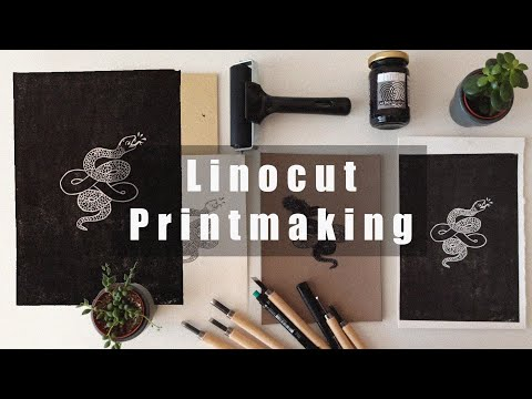 ASMR Linocut Printmaking | No Talking