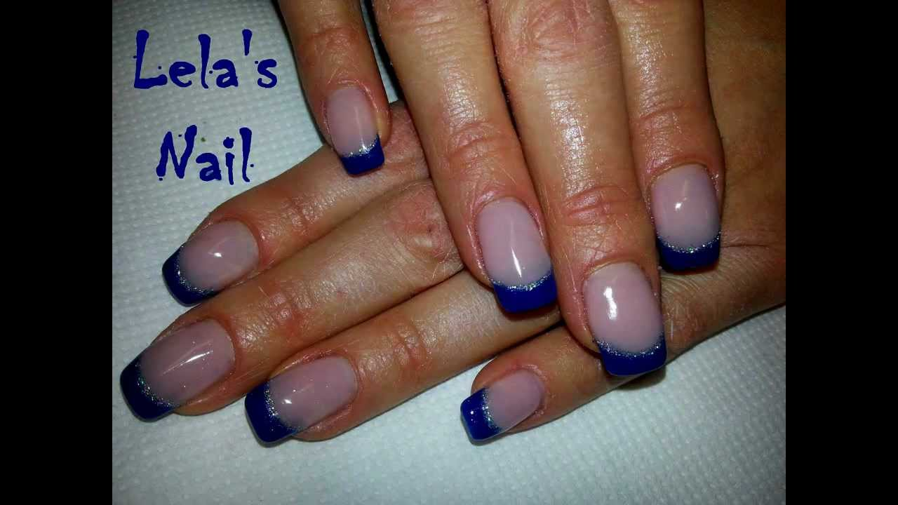 Simple blue french with silver glitter nail art - YouTube