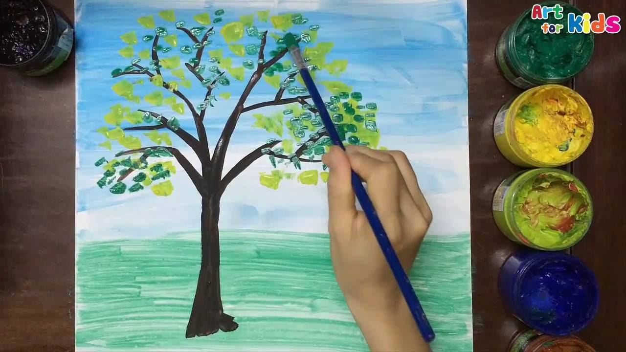 How To Draw Tree For Kids Landscape Painting Children Art You