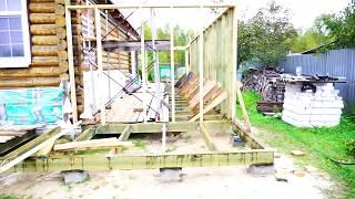 Стоевые и стропила | Каркасный пристрой к дому и две веранды .Часть 2