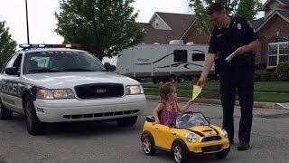 Cop Pulls Over 2-Year-Old Girl For Picking Her Nose Old While Driving Toy Car