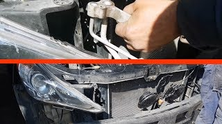 Removing the conditioner radiator on Hyundai Sonata 6 / How to remove AC radiator Hyundai Sonata