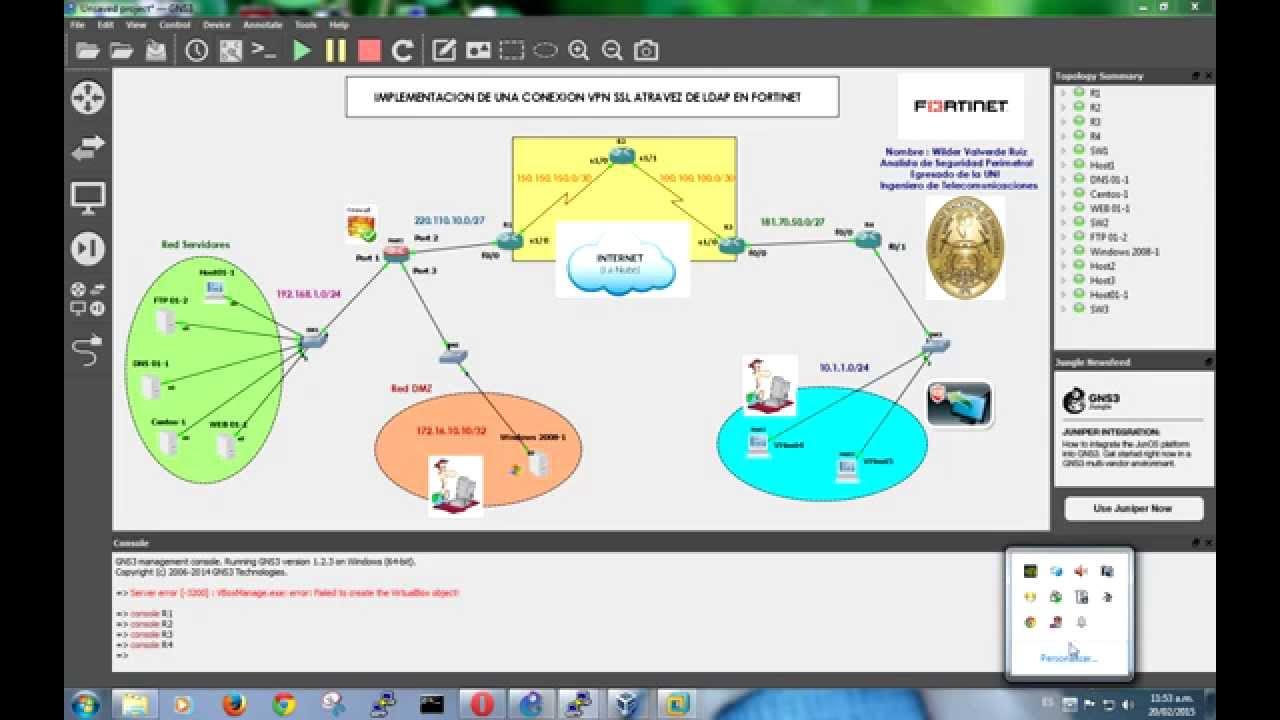 Implementacion SSLVPN con LDAP en Fortinet con Vmware , VirtualBox y GNS3 -  Parte 01