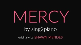 Mercy (HIGHER - Piano Karaoke Instrumental) Shawn Mendes