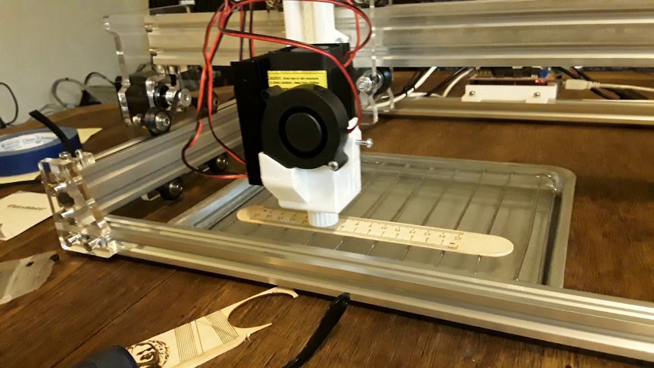 Eleksmaker A3 laser engraver with 60mm Z-axis conversion by dkj4linux
