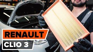 Cómo cambiar Filtro de aire motor RENAULT CLIO III (BR0/1, CR0/1) - vídeo gratis en línea