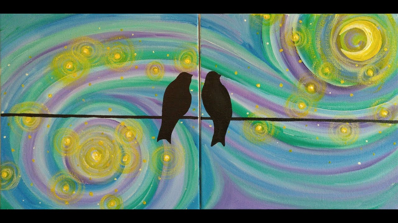 A Starry Night For Lovebirds Step By Step Acrylic Painting