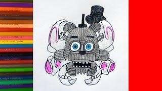 How to draw Openface Funtime Freddy, Как нарисовать пугающего Фантайм Фредди