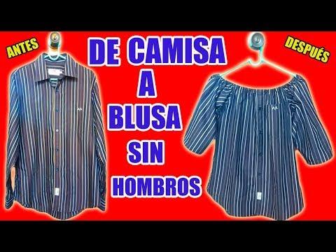 #1 TRANSFORMAR CAMISA DE HOMBRE EN UNA BLUSA SIN HOMBROS,  BLUSA OFF SHOULDER, BLUSA CAMPESINA-MariG