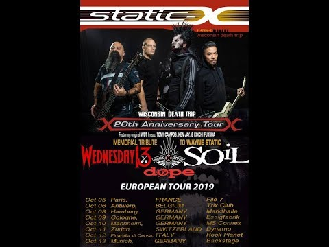STATIC-X unveil vocalist Edsel Dope from DOPE as their touring vocalist..!