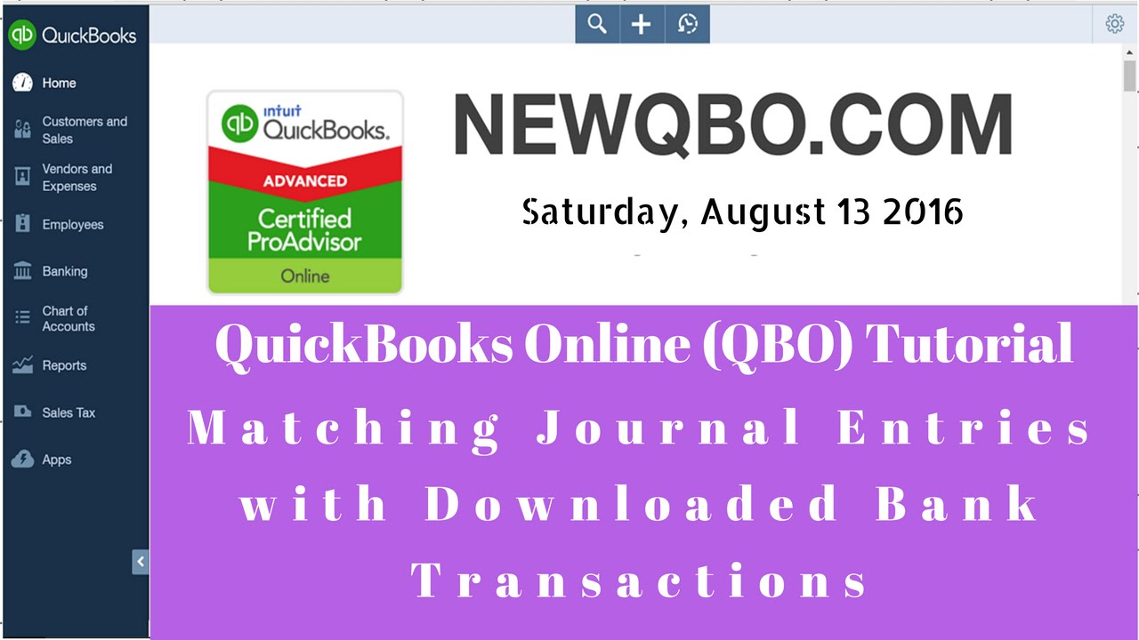 QuickBooks Online - matching journal entries with downloaded bank  transactions