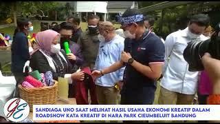 Menparekrap RI, Sandiaga Uno saat melihat hasil Usaha Ekrap di  Nara Park Ciumbuleuit Bandung