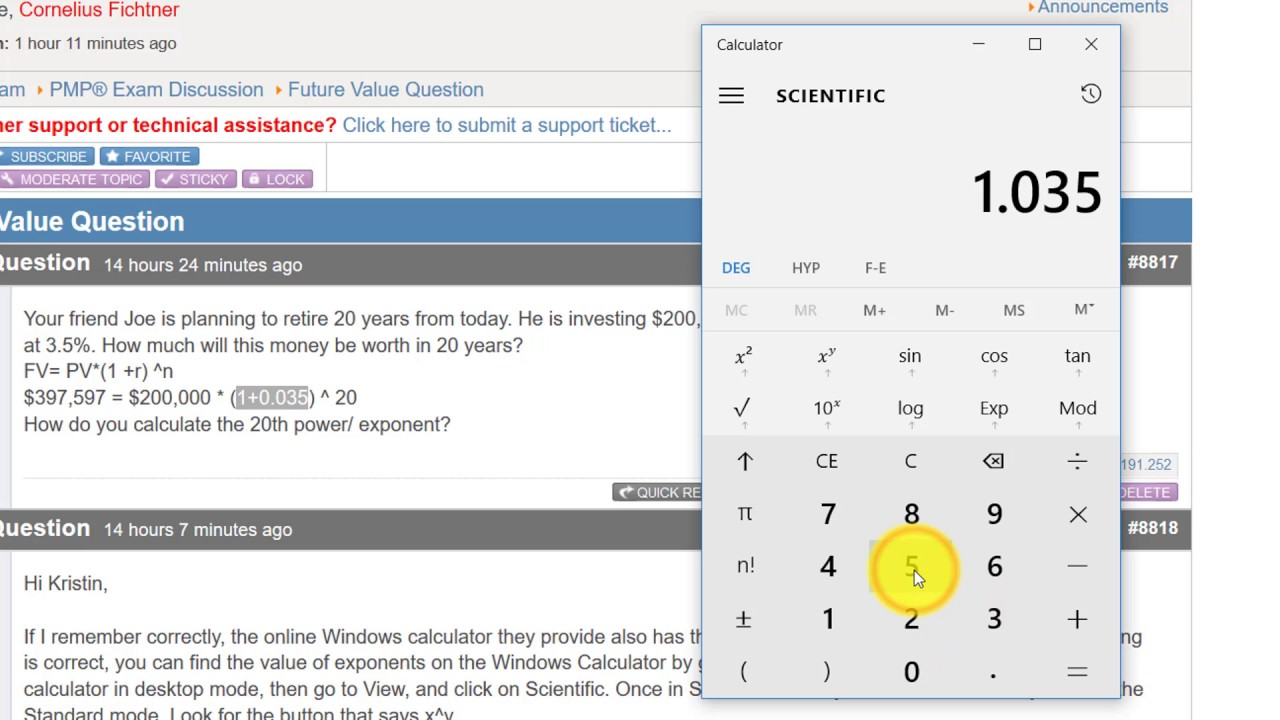 How To Use Windows Calculator For Exponent Youtube