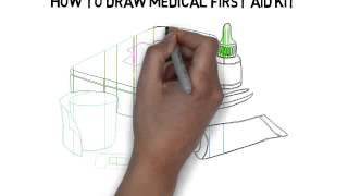 how to draw medical first aid kit