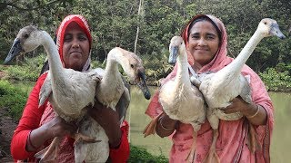 Village Food 15 Kg Goose Cooking Delicious Bengali Goose Vuna Recipe Yummy Spicy Duck Gravy Curry