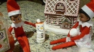 Xmas Day 25: My Elf On The Shelf Built A Cute Snowman By The Gingerbread House
