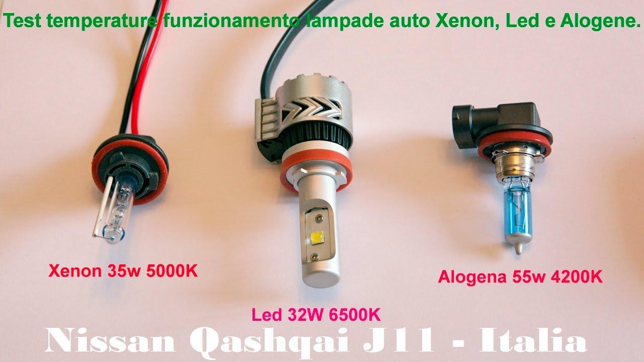 Test comparativo temperatura funzionamento lampade auto xeno led e