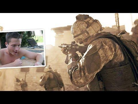 Reacting to the Modern Warfare Trailer in a pool in Tahiti.. 😂
