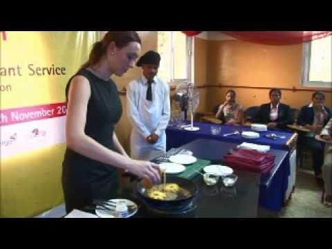 Jessica Martin (Silver Medallist at WorldSkills, Restaurant Service) does a live skill demonstration