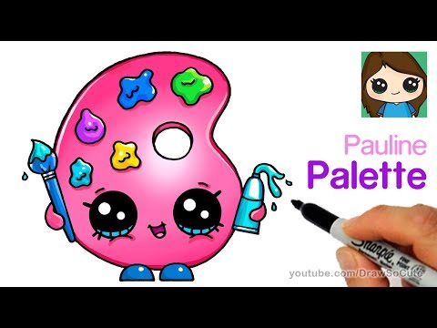 How to Draw a Cute Paint Palette | Shopkins Pauline Palette
